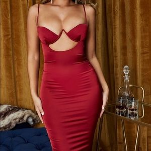 Oh Polly Ahead of the Curve Red Satin Dress